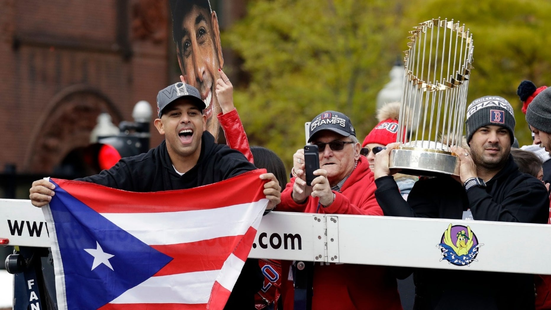Alex Cora, left, slammed those who doubted the Boston Red Sox.