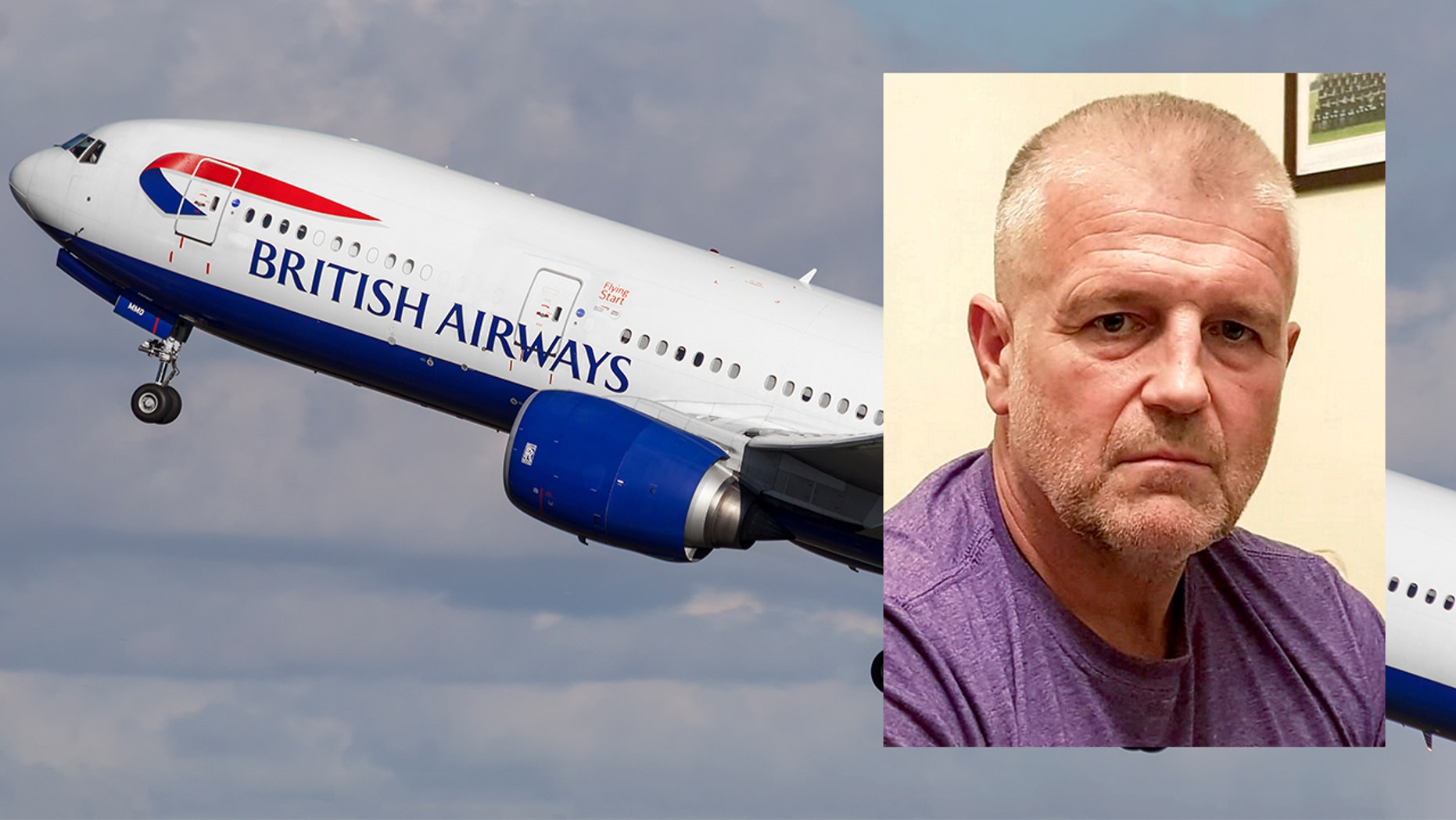 Andy Vicary, from Gloucester, England, was forced to move seats away from his wife for the long-haul flight.