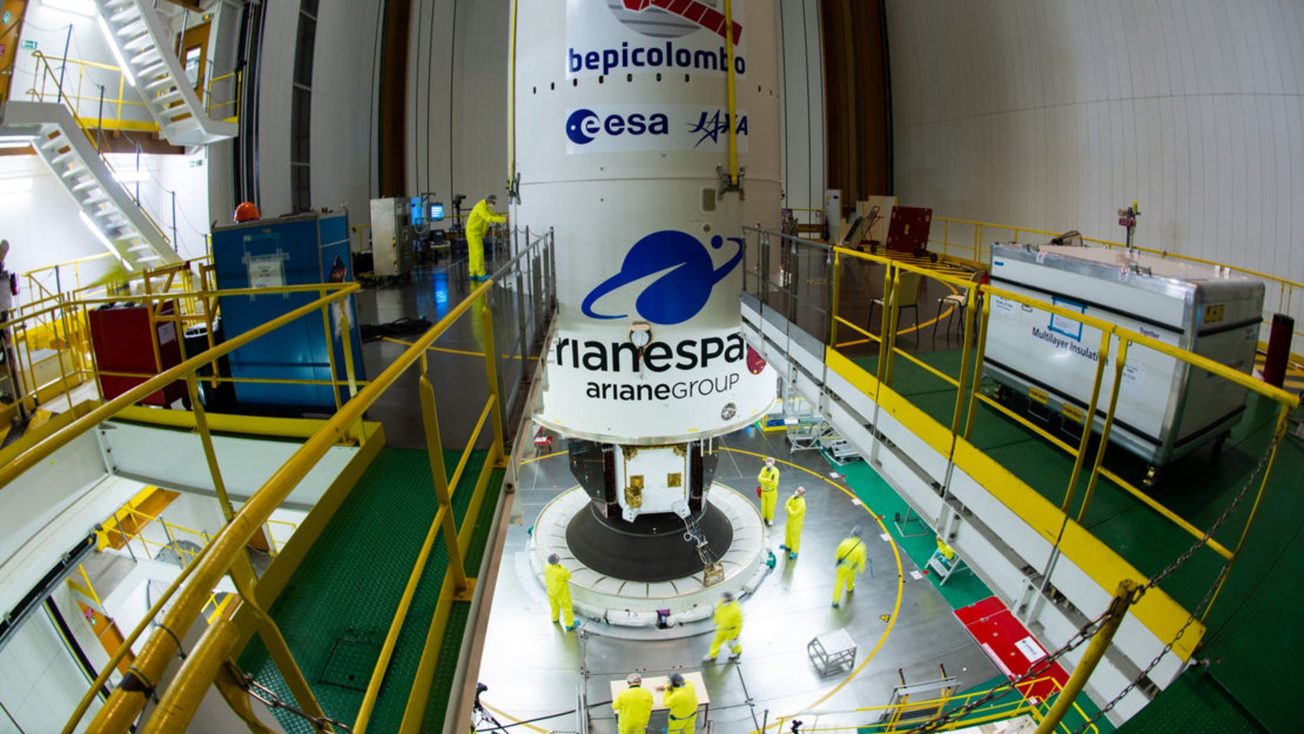 Engineers closed the fairing over BepiColombo in preparation for the mission's launch on Oct. 19 (Oct. 20 GMT).