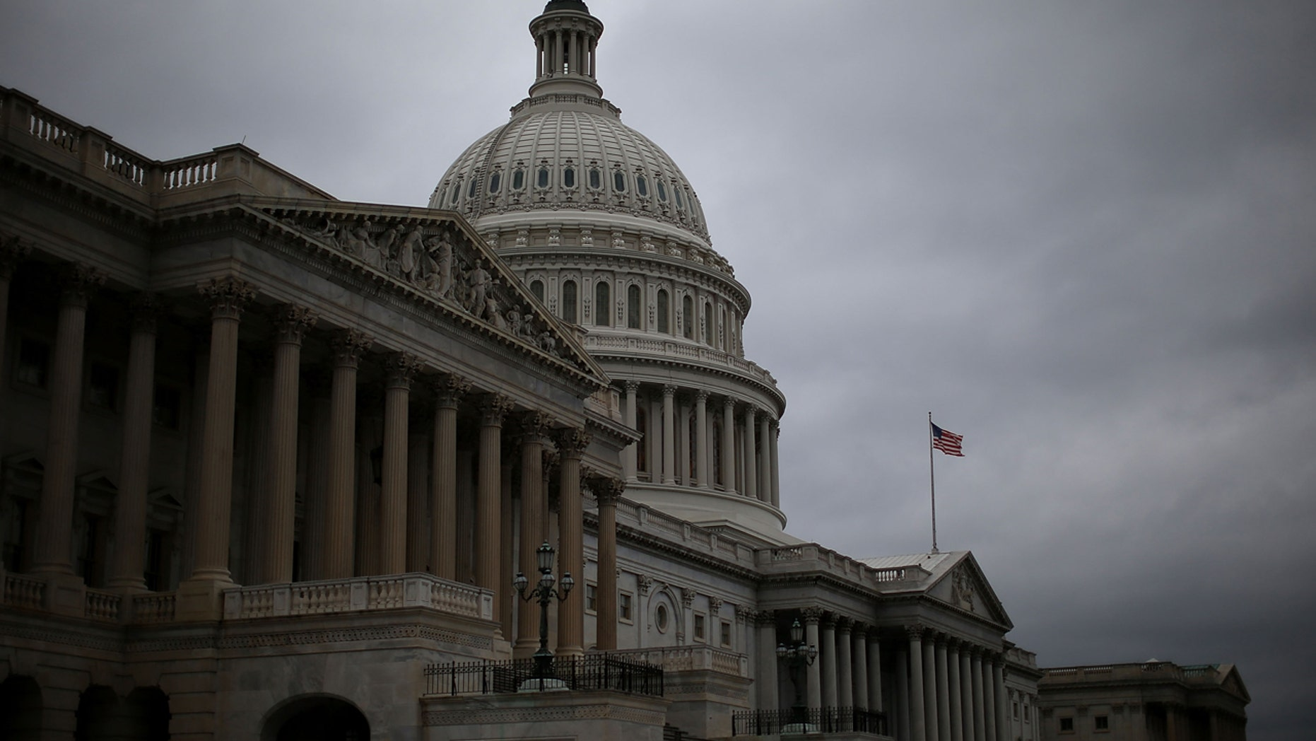 Clouds fill the sky in front of the U.S. Capitol on Oct. 7, 2013 in Washington, D.C. (Getty Images)