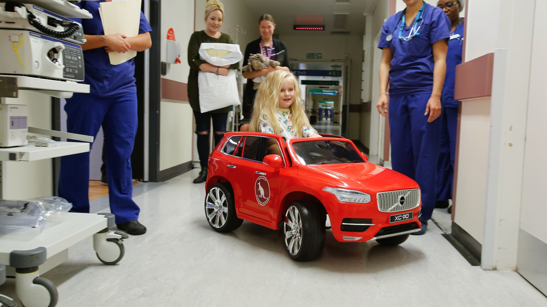 Sophia Mars, was the first child patient to drive a new electric car into surgery at Leicester Royal Children's Hospital.