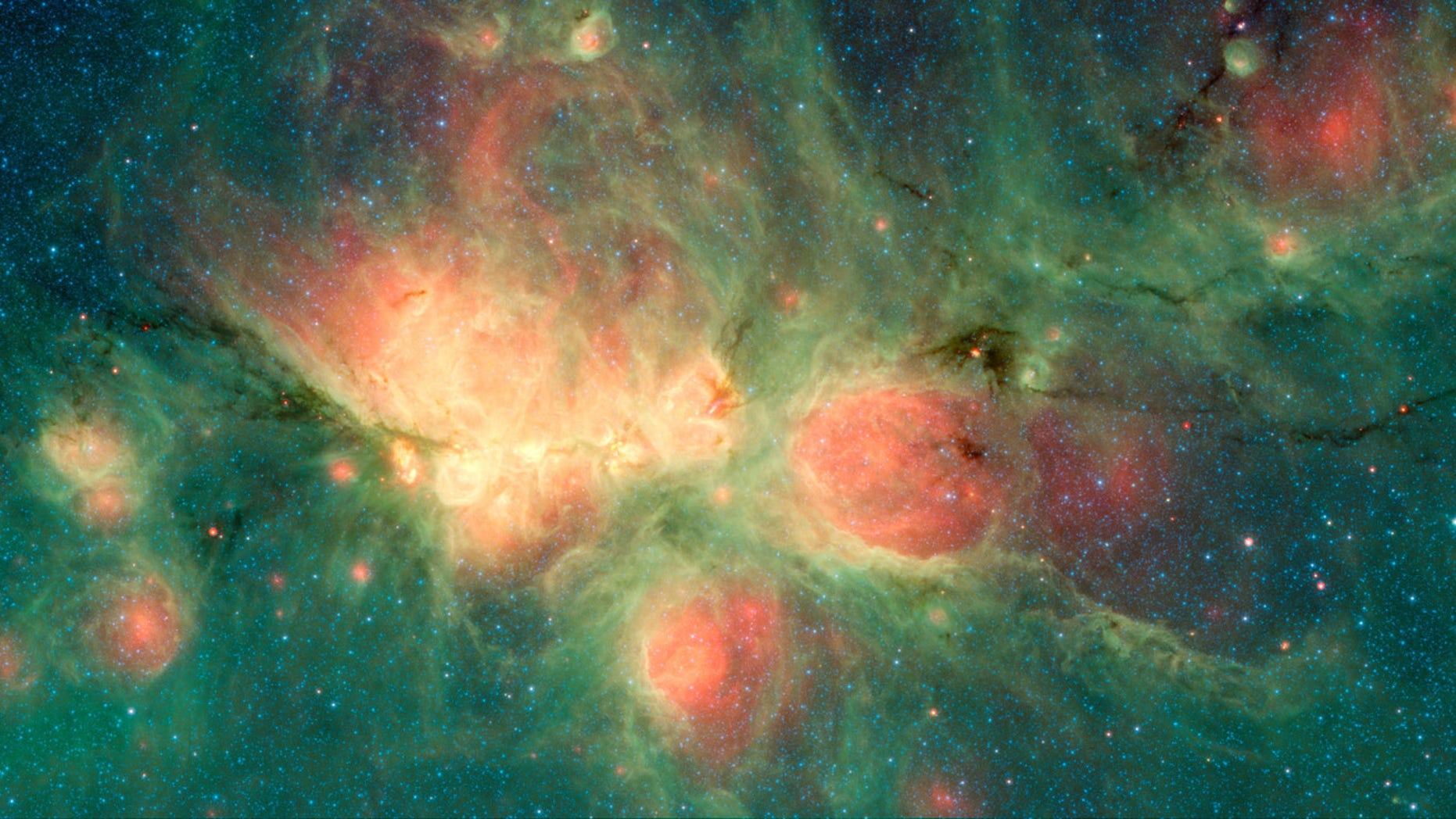 NASA's Spitzer Space Telescope captured this view of the Cat's Paw Nebula within the Milky Way.
