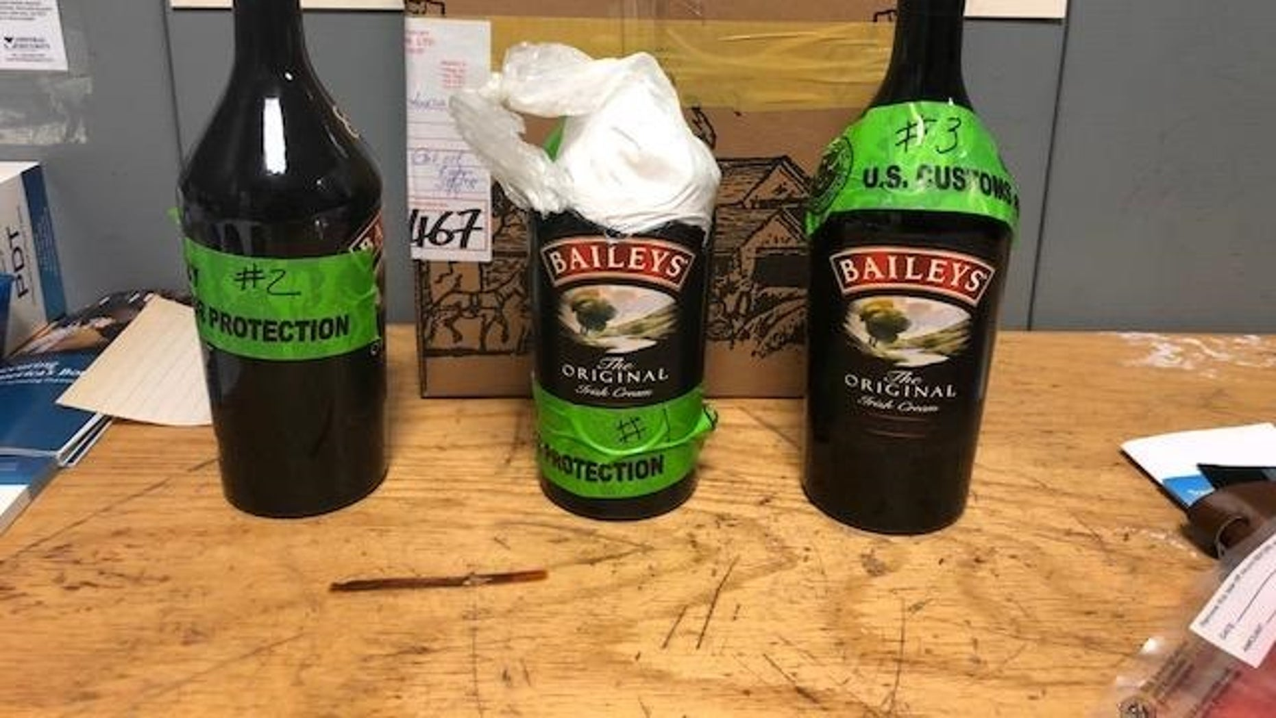 U.S. Customs and Border Protection officers found $115,000 worth of cocaine in Baileys Irish Cream liquor bottles.
