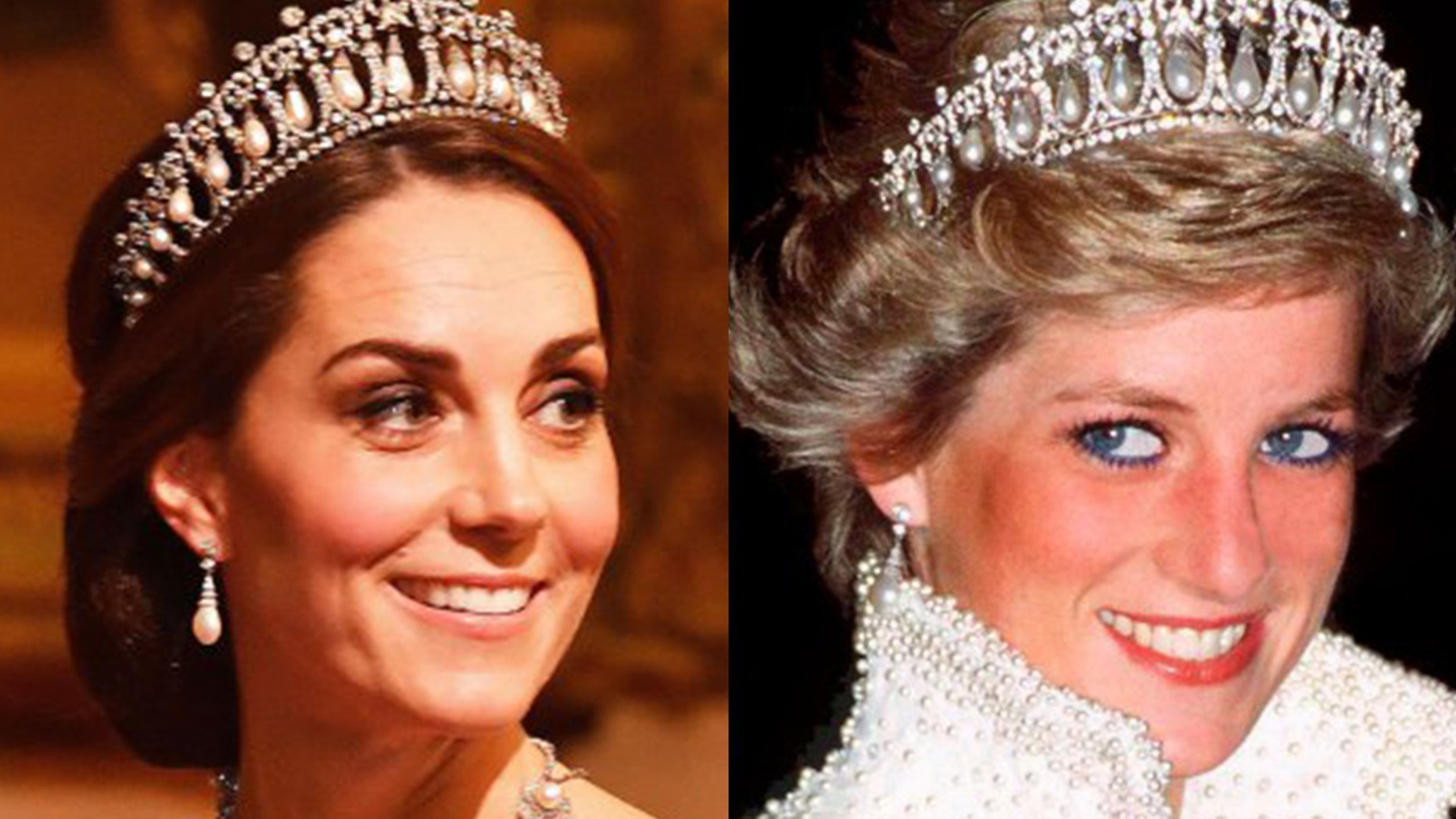 Kate Middleton dons Princess Diana's famous lovers knot tiara while at a Buckingham Palace banquet on Tuesday night.