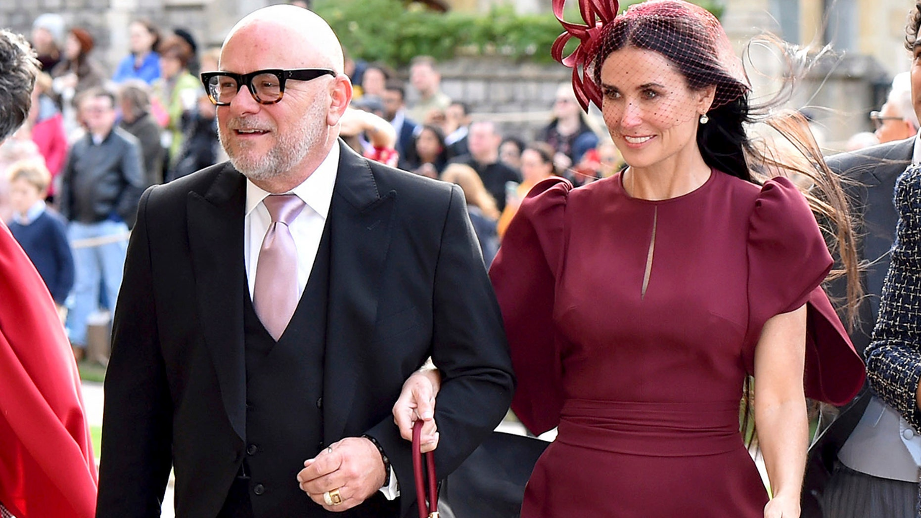 Demi Moore made her Instagram official debut after the wedding of Princess Eugenie and Jack Brooksbank in Windsor, England. (Matt Crossick, Pool via AP)<br>