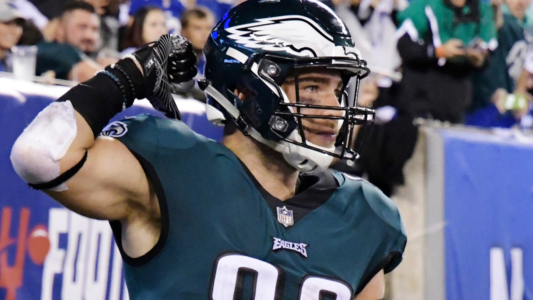 Philadelphia Eagles' Zach Ertz celebrates after catching a pass for a touchdown during the first half of the team's NFL football game against the New York Giants in East Rutherford, N.J., Oct. 11, 2018.
