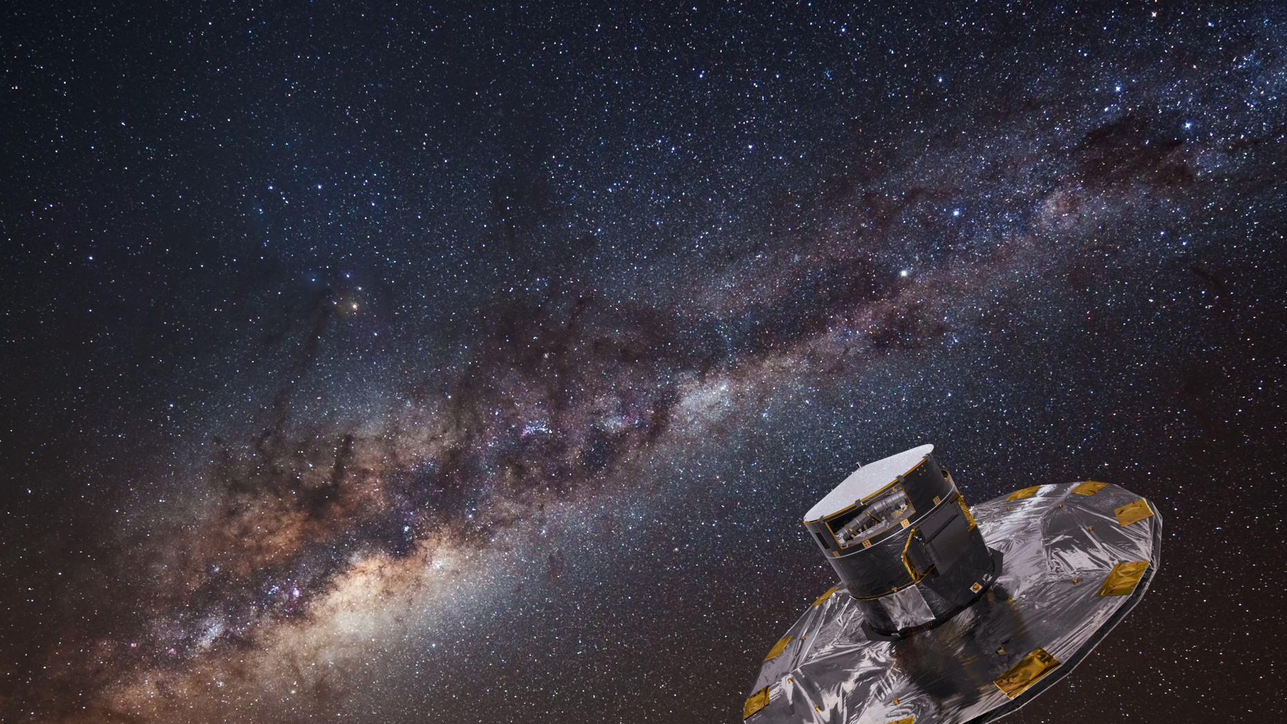 An artist's depiction of the Gaia spacecraft mapping stars in the Milky Way.