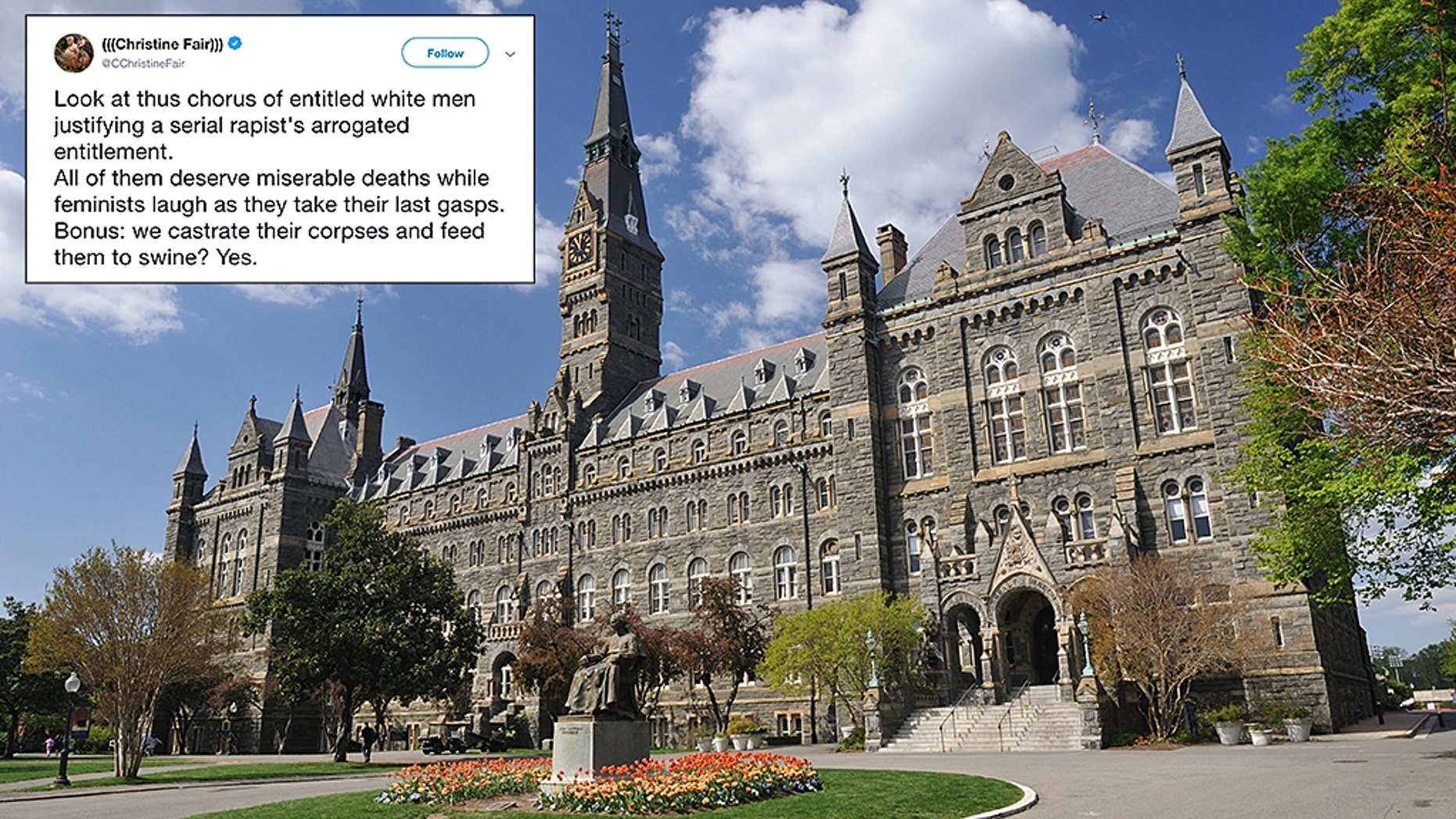 "An associate professor at Georgetown University tweeted that white GOP Senators ""deserve miserable deaths"" after the Brett Kavanaugh hearing."