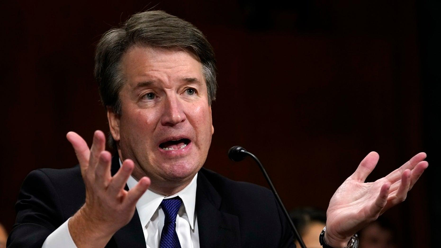 FILE - The Supreme Court nominee Judge Brett Kavanaugh testifies before the Senate Judiciary Committee on Capitol Hill in Washington.