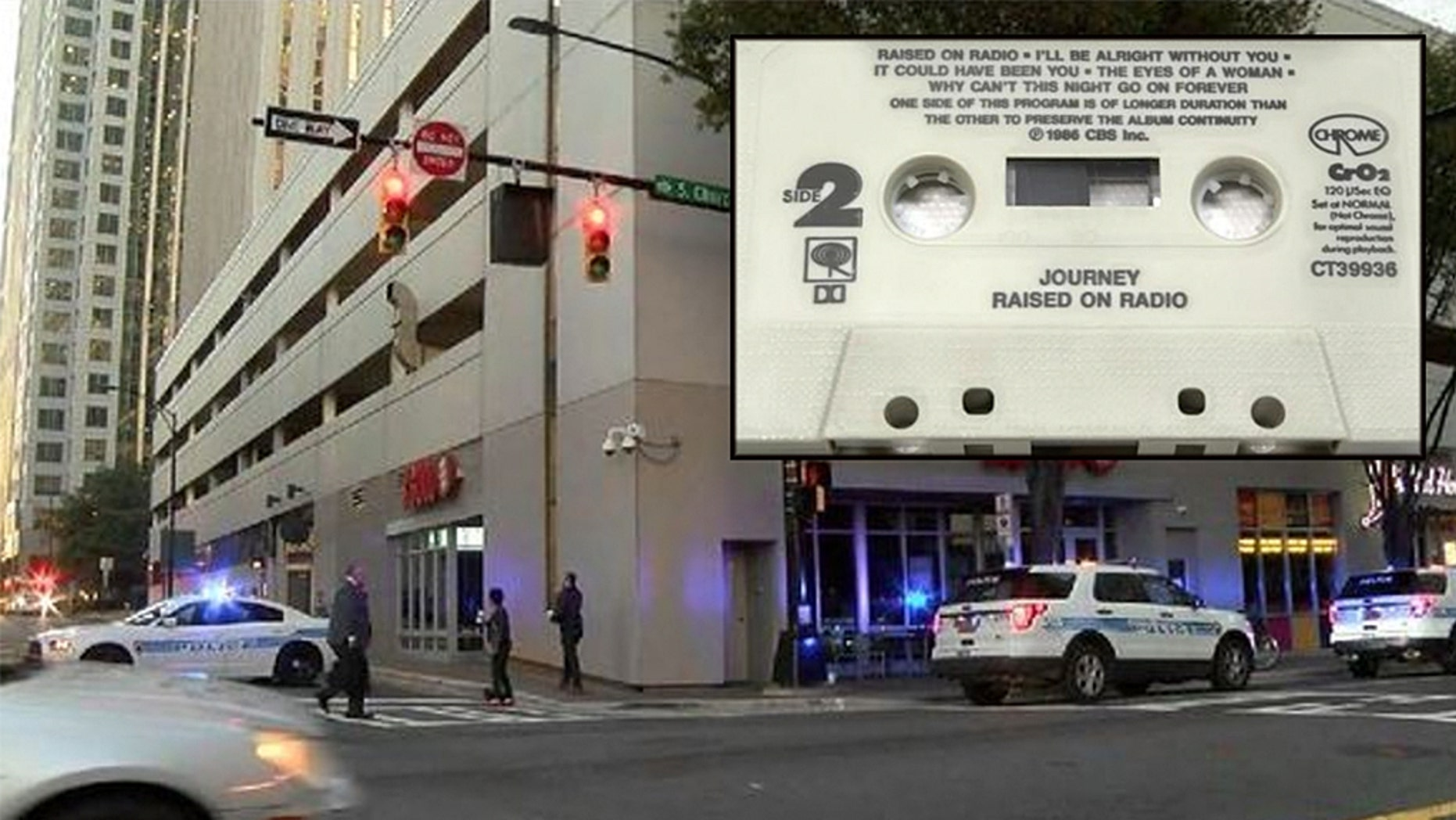 A suspicious package call at Duke Energy Building in Charlotte prompted a brief evacuation and street closures. It turned out to be a parcel containing a Journey cassette tape (not pictured).