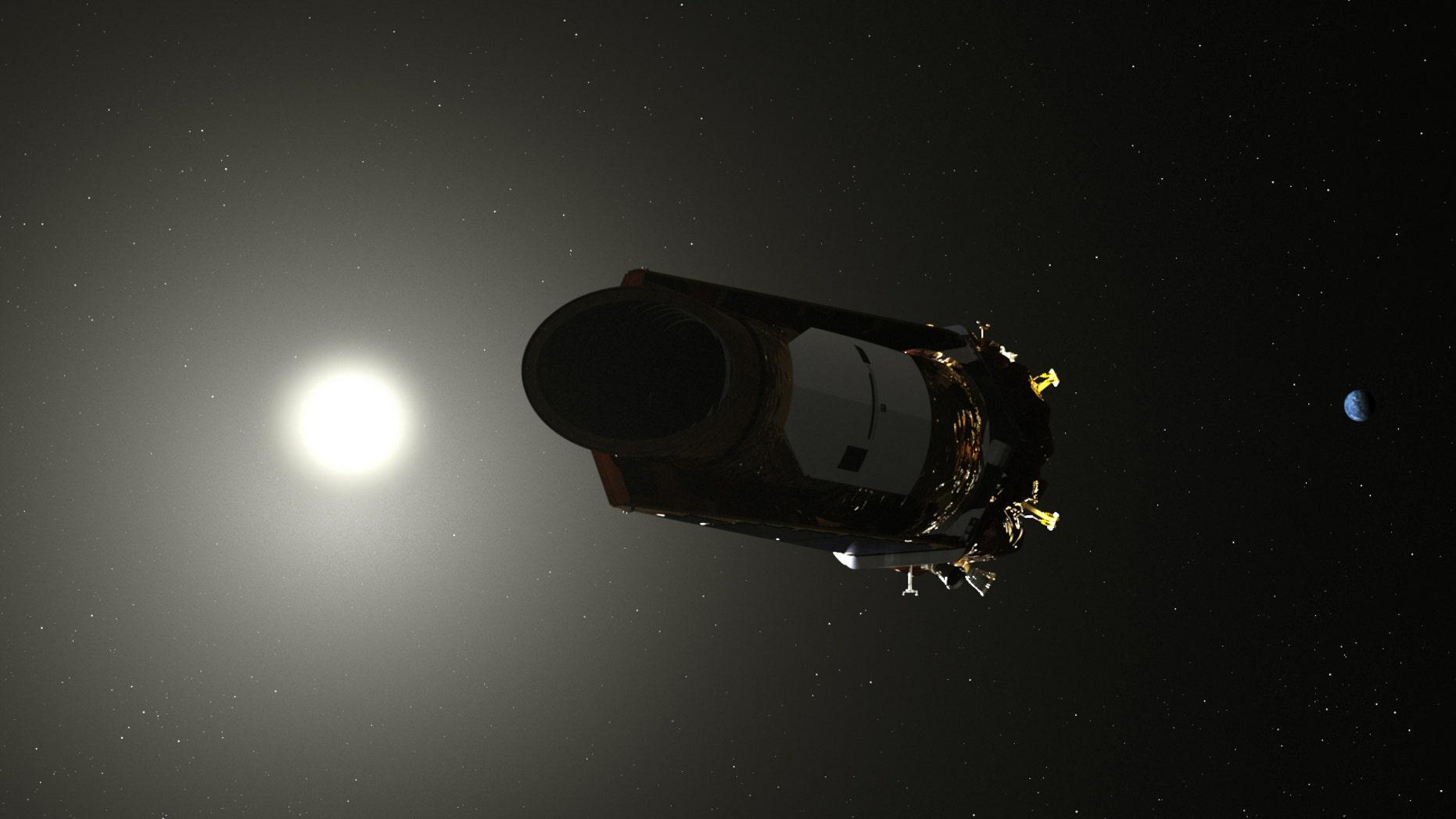 An artist's illustration of NASA's Kepler space telescope hunting for exoplanets.