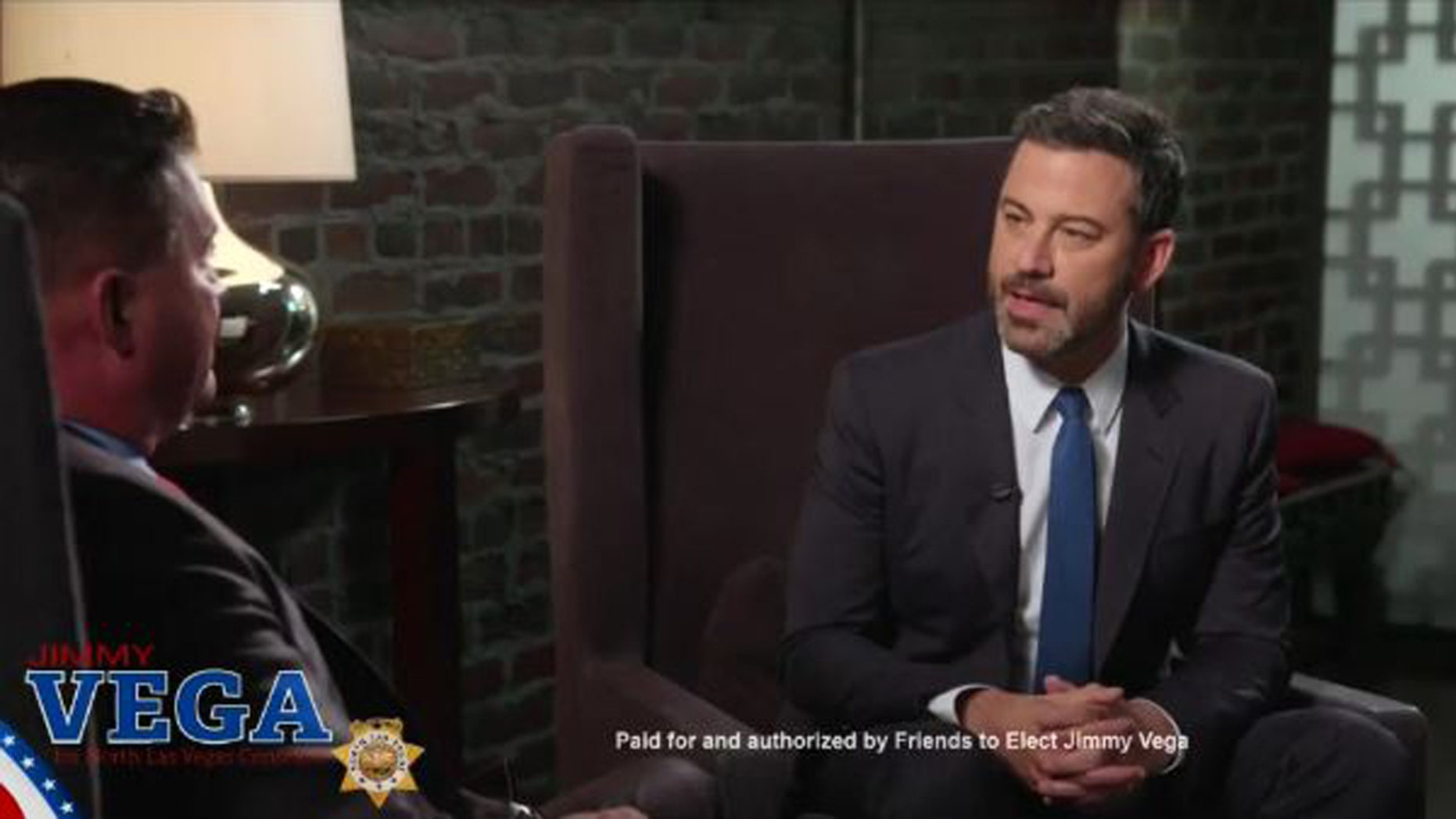 Jimmy Kimmel appears in a campaign video to support his longtime friend Jimmy Vega for North Las Vegas constable.