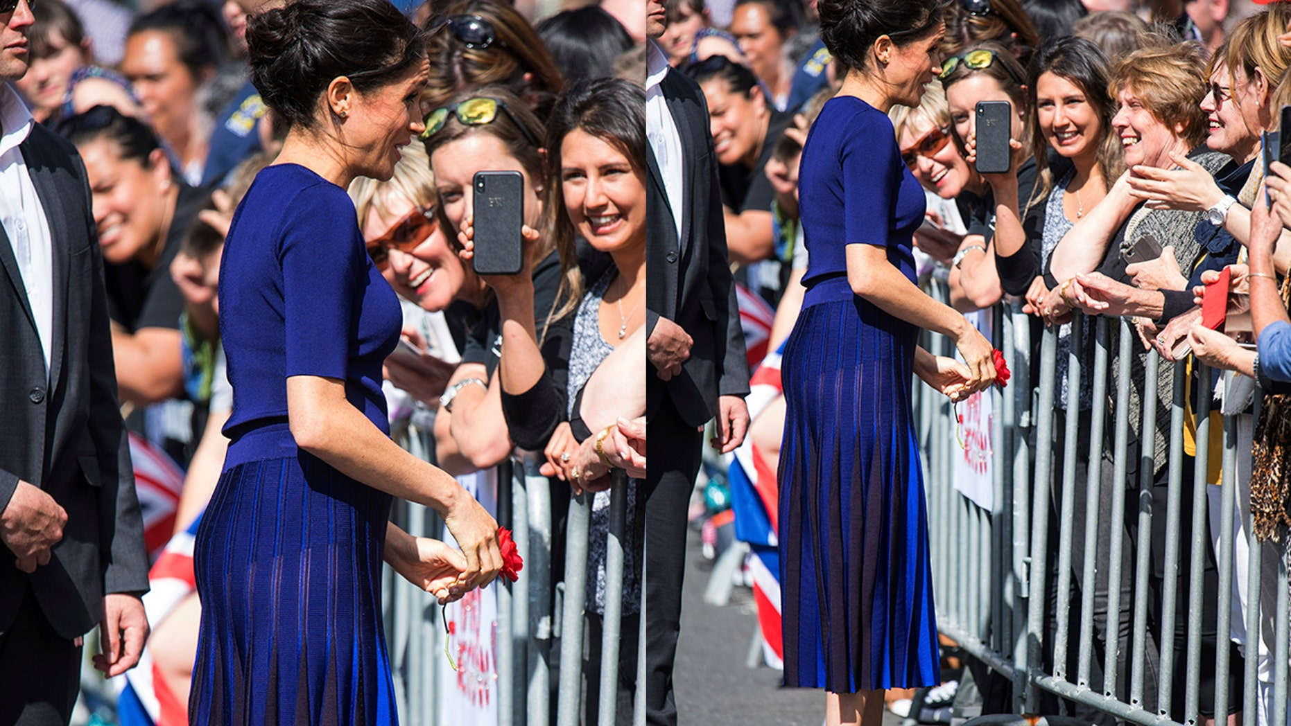 The Duchess of Sussex meets with members of the public during a walk through Rotorua, New Zealand, with a skirt revealed under the garment.