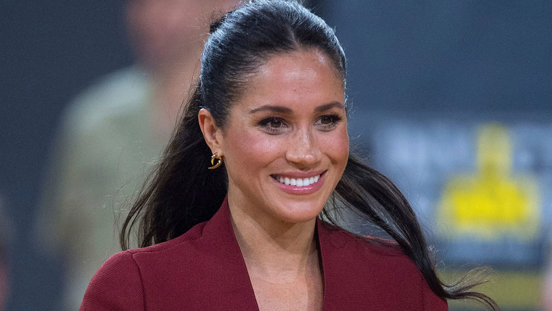 Britain's Meghan, Duchess of Sussex, after watching the wheelchair basketball final at the Invictus Games in Sydney, Australia, Saturday, Oct. 27, 2018. (Associated Press)