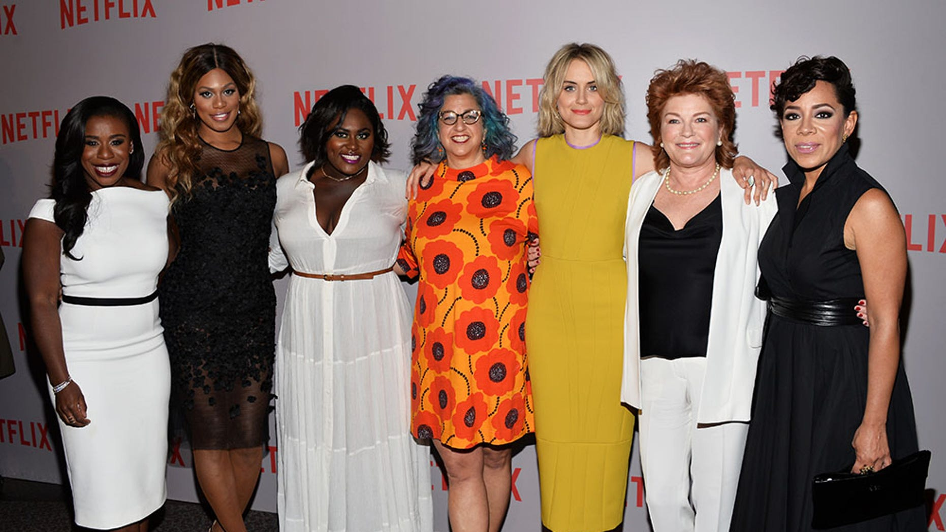 "(From left) Actresses Uzo Aduba, Laverne Cox and Danielle Brooks, executive producer Jenji Kohan and actresses Taylor Schilling, Kate Mulgrew and Selenis Leyva arrive at the Netflix ""Orange Is The New Black"" For Your Consideration Screening and Q&A at the Director's Guild Of America on May 20, 2015 in Los Angeles, California."