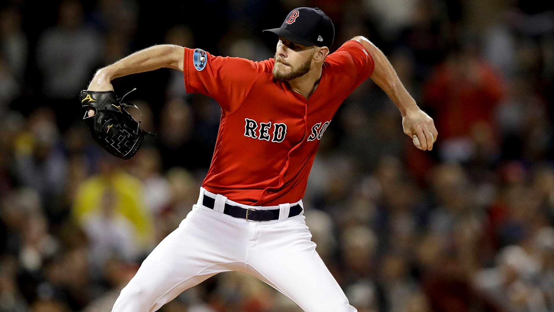 Boston Red Sox starting pitcher Chris Sale throws to a New York Yankees batter during the first inning of Game 1 of the American League Division Series, in Boston, Oct. 5, 2018.