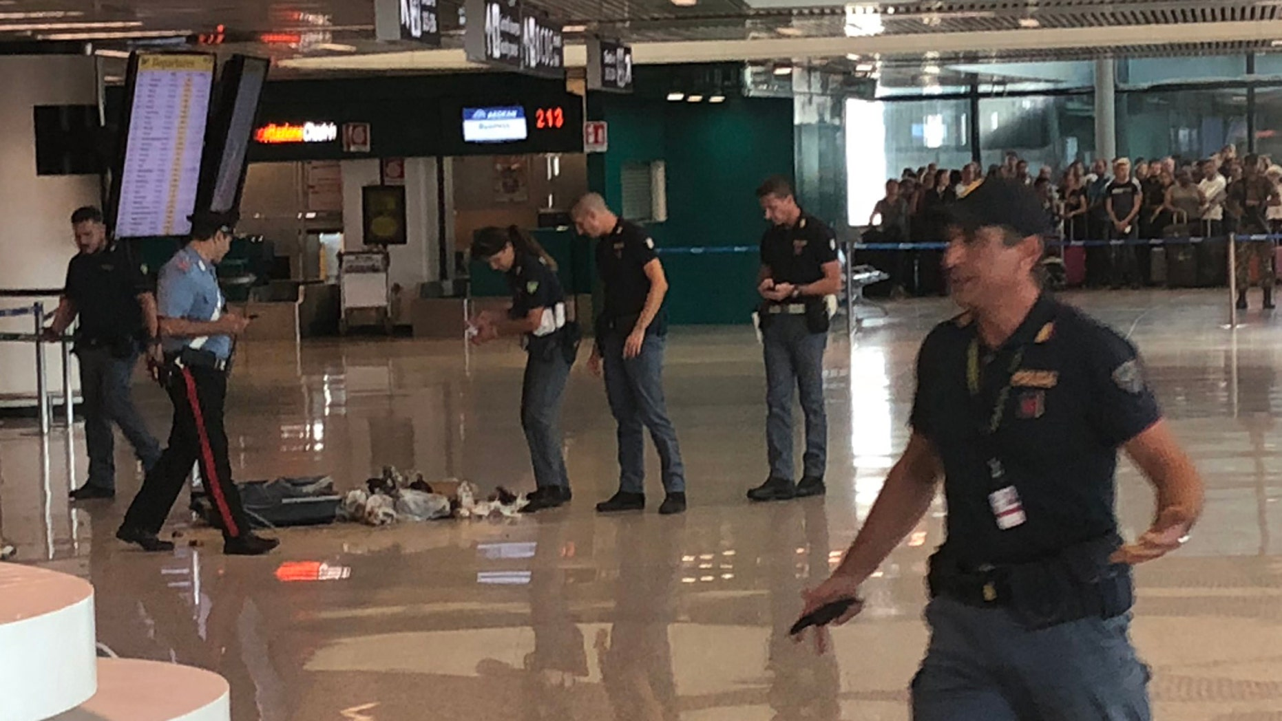 Italian authorities reportedly blew up a suitcase in the middle of a Rome airport.