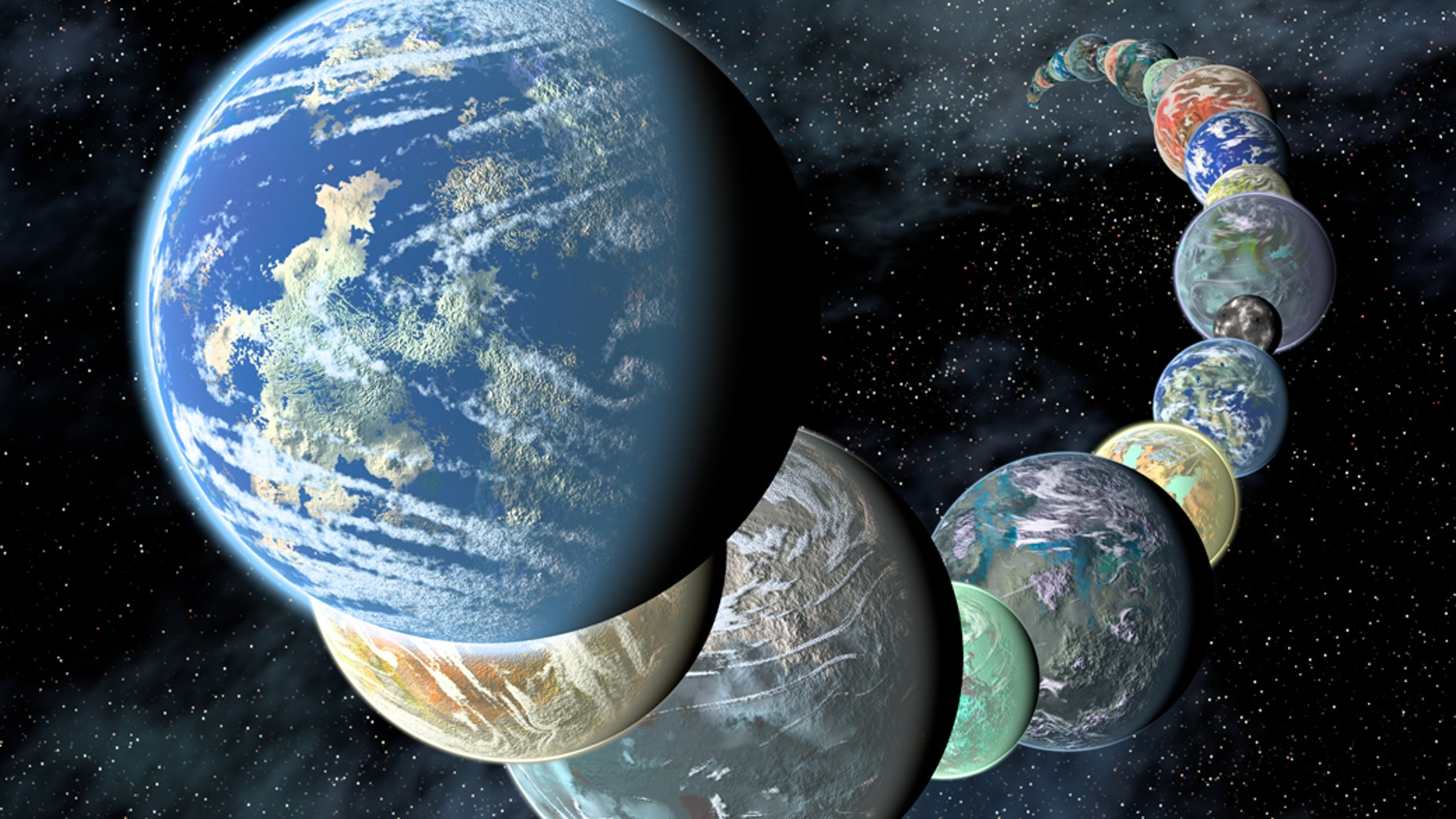 Artist's illustration of how rocky, potentially habitable worlds elsewhere in our galaxy might appear. Data gathered by telescopes in space and on the ground suggest that small, rocky planets are common. (Placing them so close together in a line is for illustrative purposes only.)