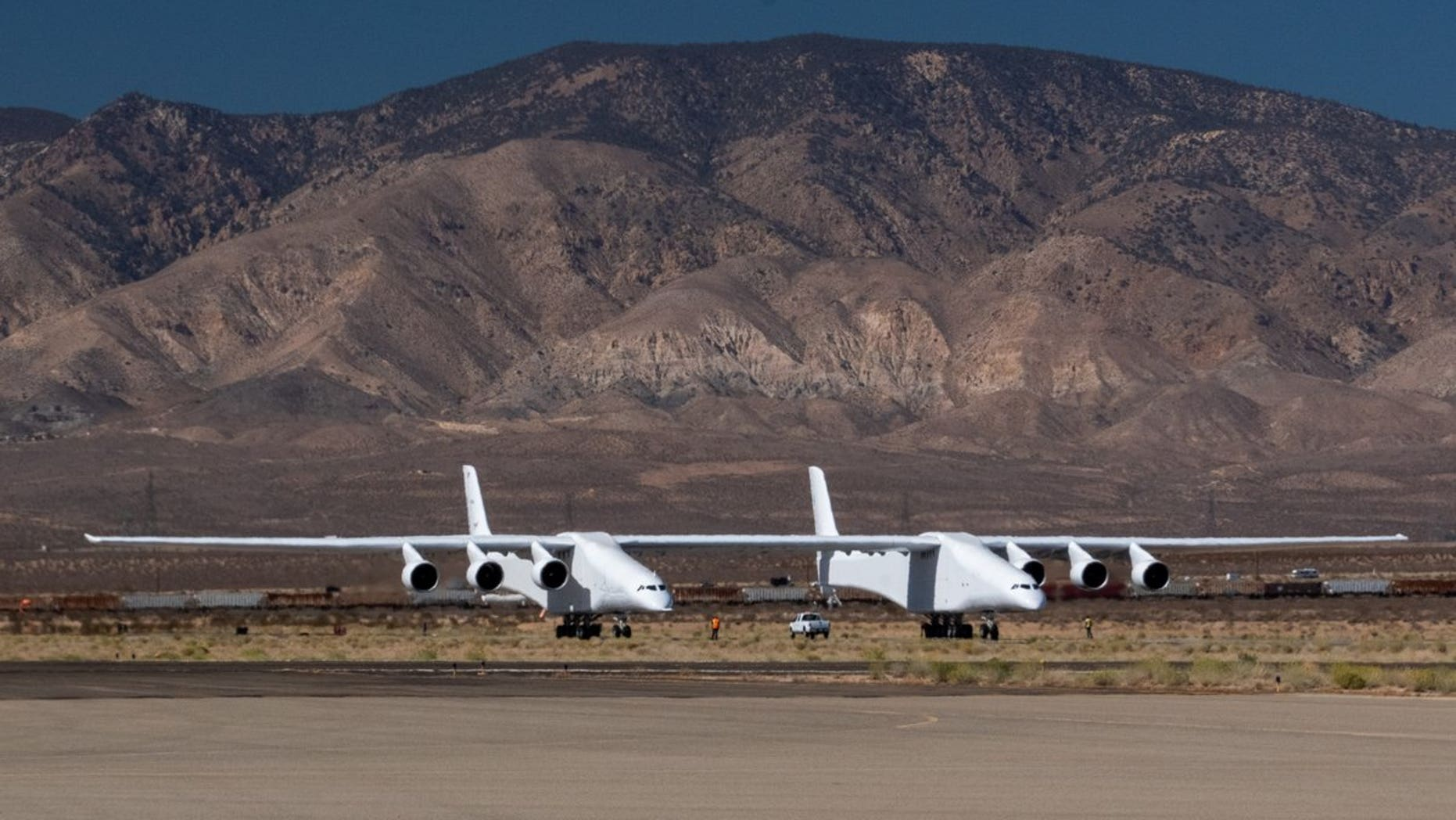 """Stratolaunch Systems' airplane, the biggest aircraft ever built, performed a """"medium-speed taxi test"""" at California's Mojave Air and Space Port in October 2018."""