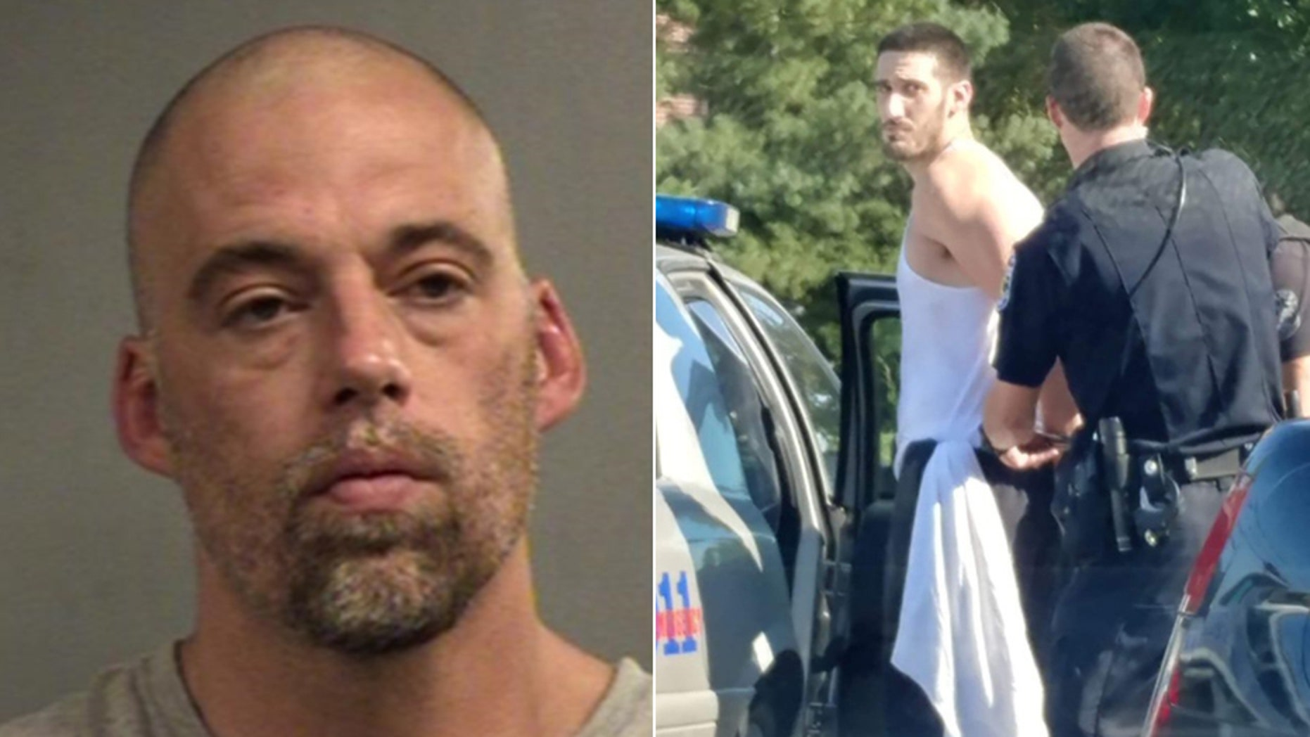 Jeremy Hunt, left, is still at large Monday after Louisville police captured Justin Stumler.