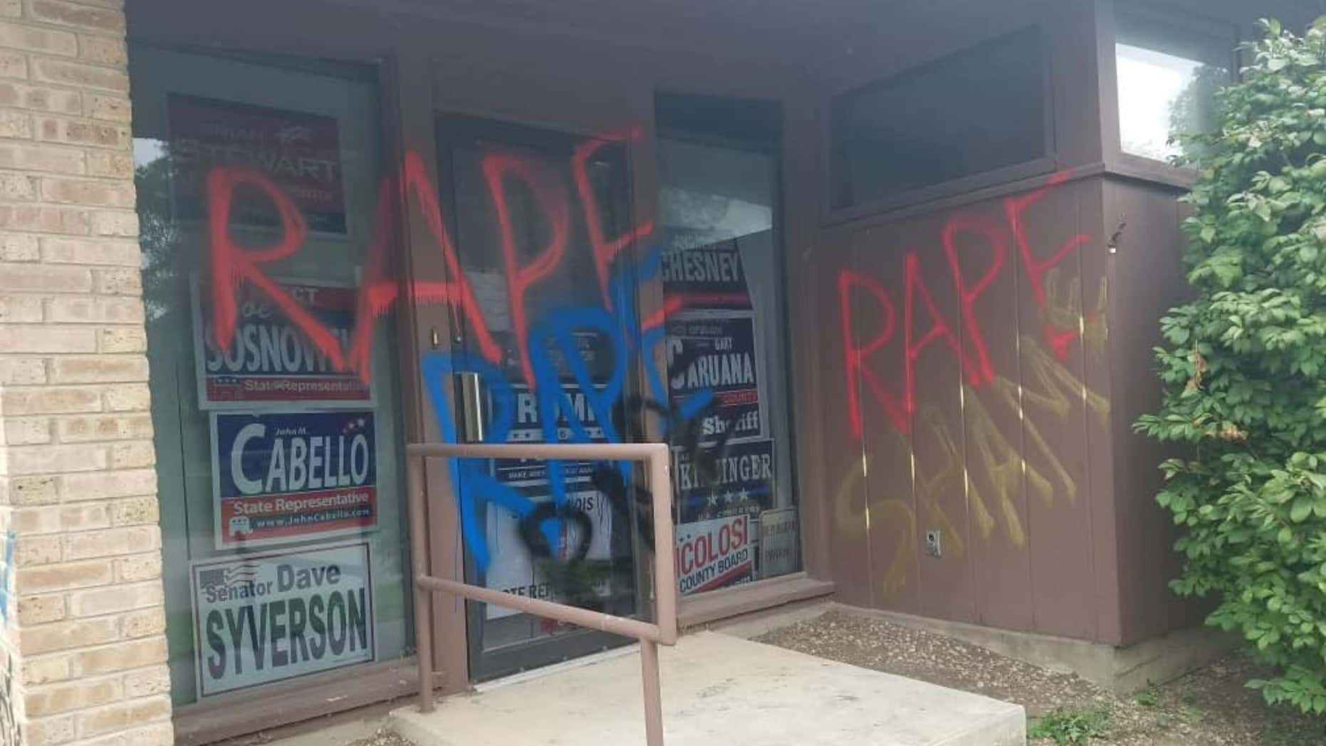 """The Winnebago County Republican headquarters in Rockford, Ill., was vandalized last weekend. The words """"rape"""" and """"shame"""" were painted on the building's façade."""