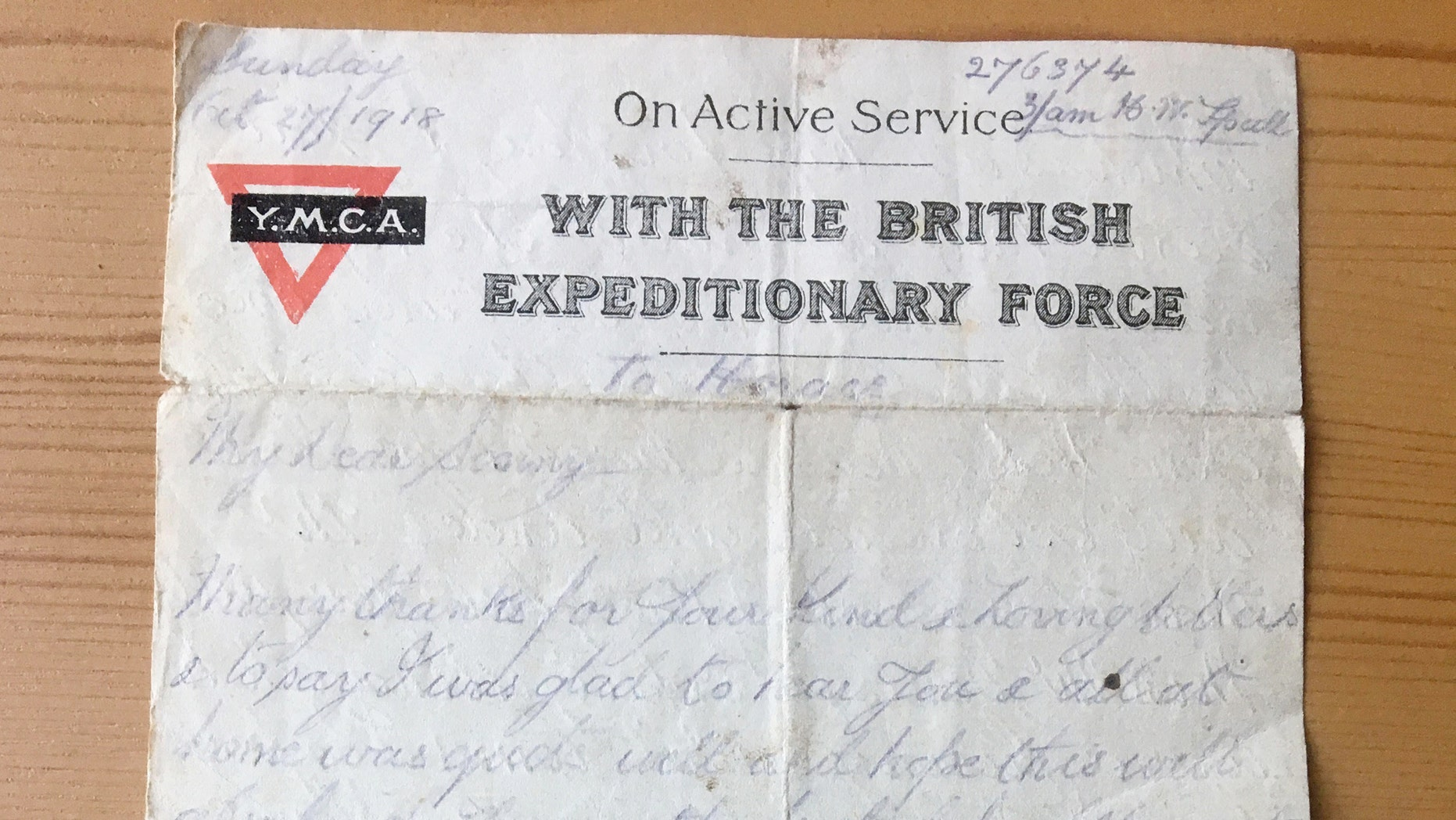 An OAP uncovered a pristine 100-year-old letter written to her father-in-law- by his dad who was fighting in World War One. (Credit: SWNS)