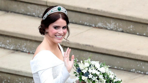 Princess Eugenie wore a tiara by Christopher De Vos, loaned to her by Queen Elizabeth II.