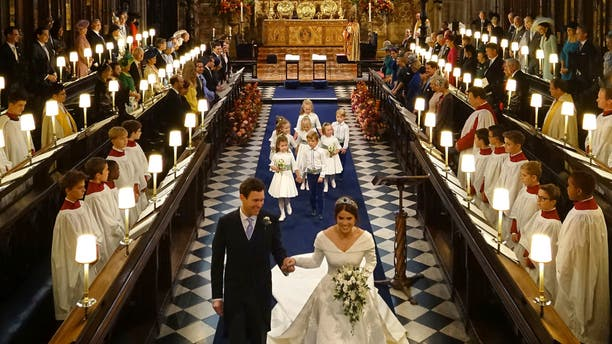 Princess Eugenie of York and Jack Brooksbank after their wedding ceremony at St George's Chapel.