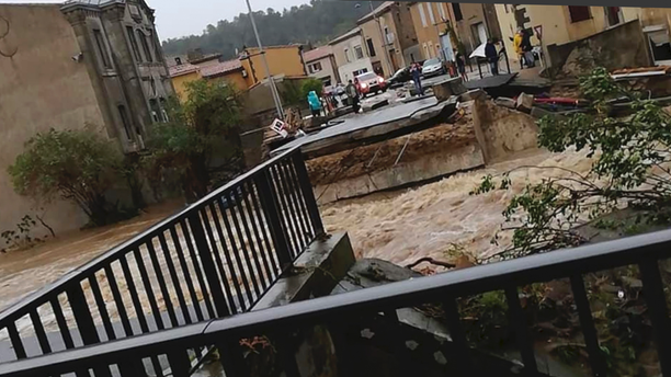 Flash floods have left several people dead in southwest France, with roads swept away and streams become raging torrents as the equivalent of several months of rain fell overnight, authorities said Monday. (AP Photo/Stephane Jourdain)