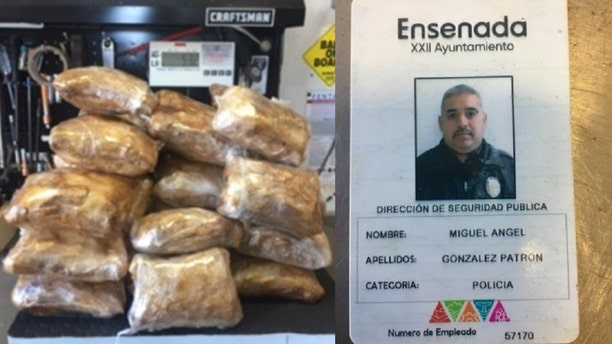 A badge identifying Miguel Patron as a Mexican police officer and bags authorities said contained meth.