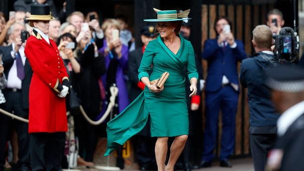 Sarah Ferguson turned heads in her strange hat.