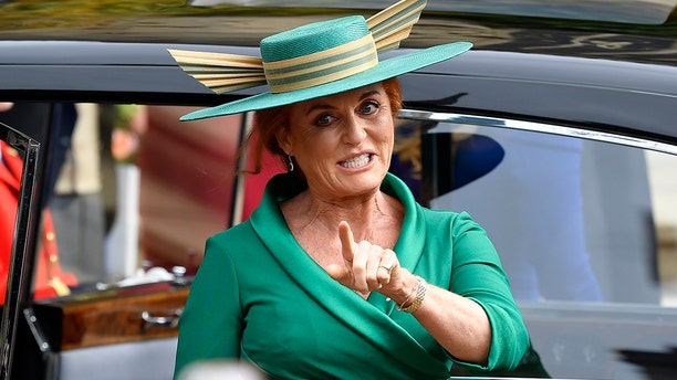 Sarah Ferguson arrives for the wedding of Princess Eugenie of York and Jack Brooksbank in St George's Chapel, Windsor Castle, near London, England, Friday Oct. 12, 2018.