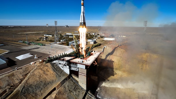 Russia's Soyuz MS-10 spacecraft carrying the members of the International Space Station (ISS) expedition 57/58, Russian cosmonaut Alexey Ovchinin and NASA astronaut Nick Hague, blasts off from the launch pad at the Russian-leased Baikonur Cosmodrome in Baikonur on Oct. 11, 2018.