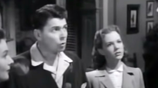 """Ronald Reagan and Piper Laurie (right) in 1950's """"Louisa."""""""
