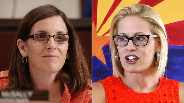 Whether Republican Martha McSally (left) or Democrat Kyrsten Sinema (right) wins the Senate race, history will be made. Arizona has never elected a female senator to the state.