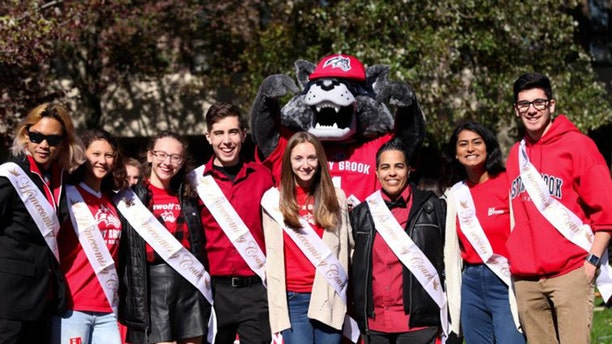 "Eight of Stony Brook University's 10 homecoming court finalists. This year there will no longer be a ""king"" and ""queen,"" but instead there will be three individual winners."