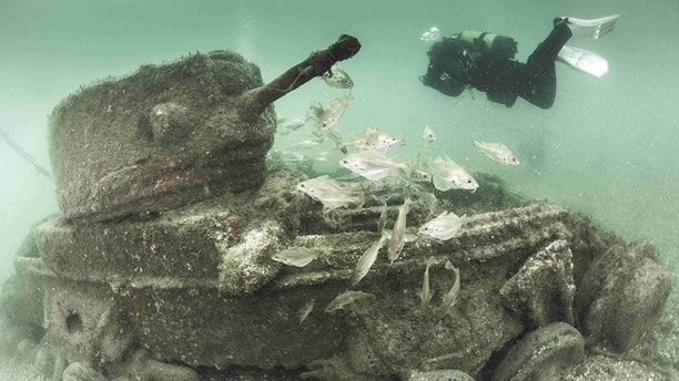 """POOLE BAY, DORSET Doomed tanks which """"altered the course of history"""" by preventing a disastrous blunder on D-Day have been revealed in stunning new images (Credit: Pen News/Paul Pettitt)"""