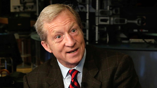 Billionaire environmentalist Tom Steyer, shown here being interviewed on the floor of the New York Stock Exchange, is growing his impeach-Trump operation. (AP Photo/Richard Drew, File)
