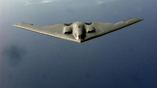A B-2 Spirit prepares to receive fuel from a KC-135 during a mission in the European Theater supporting NATO Operation Allied Force. (U.S. Air Force photo by SSgt Ken Bergmann)