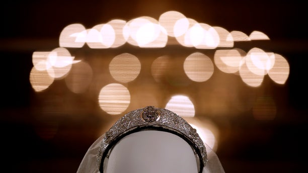 The tiara, loaned by Britain's Queen Elizabeth II, is also on display.