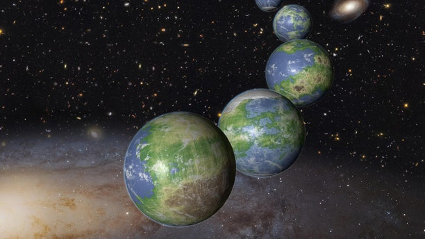 An artist's depiction of the many Earth-like planets that might exist over the course of the universe's history. Credit: NASA/ESA/G. Bacon (STScI)