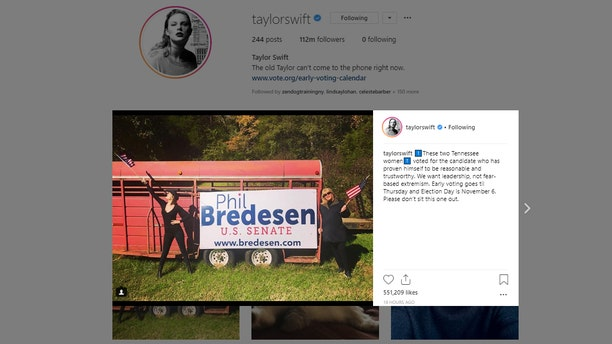 Taylor Swift urged Tennessee voters to vote Democrat in a new Instagram post.