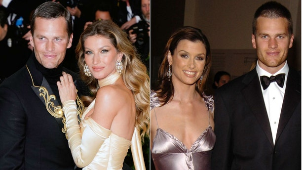 Tom Brady, photographedwith wife Gisele Bundchen, left. He as previously in a relationship with Bridget Moynahan, right.