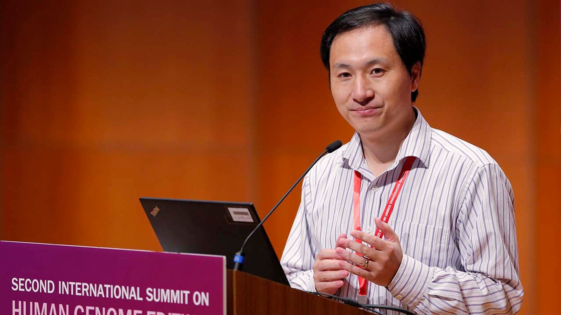 He Jiankui, Chinese researcher, speaks at the Human Genome Publishing Conference in Hong Kong on Wednesday, November 28, 2018. (AP Photo / Kin Cheung)