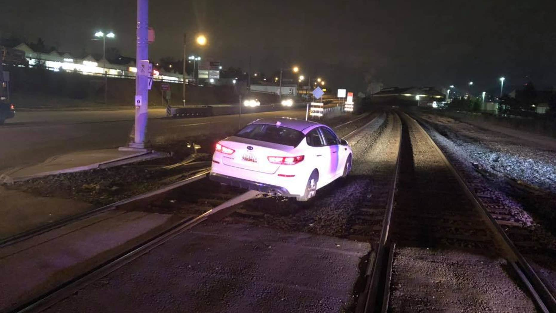 "A woman in Pennsylvania was cited for careless driving after she drove onto train tracks because ""her GPS advised her to go this way,"" police said."