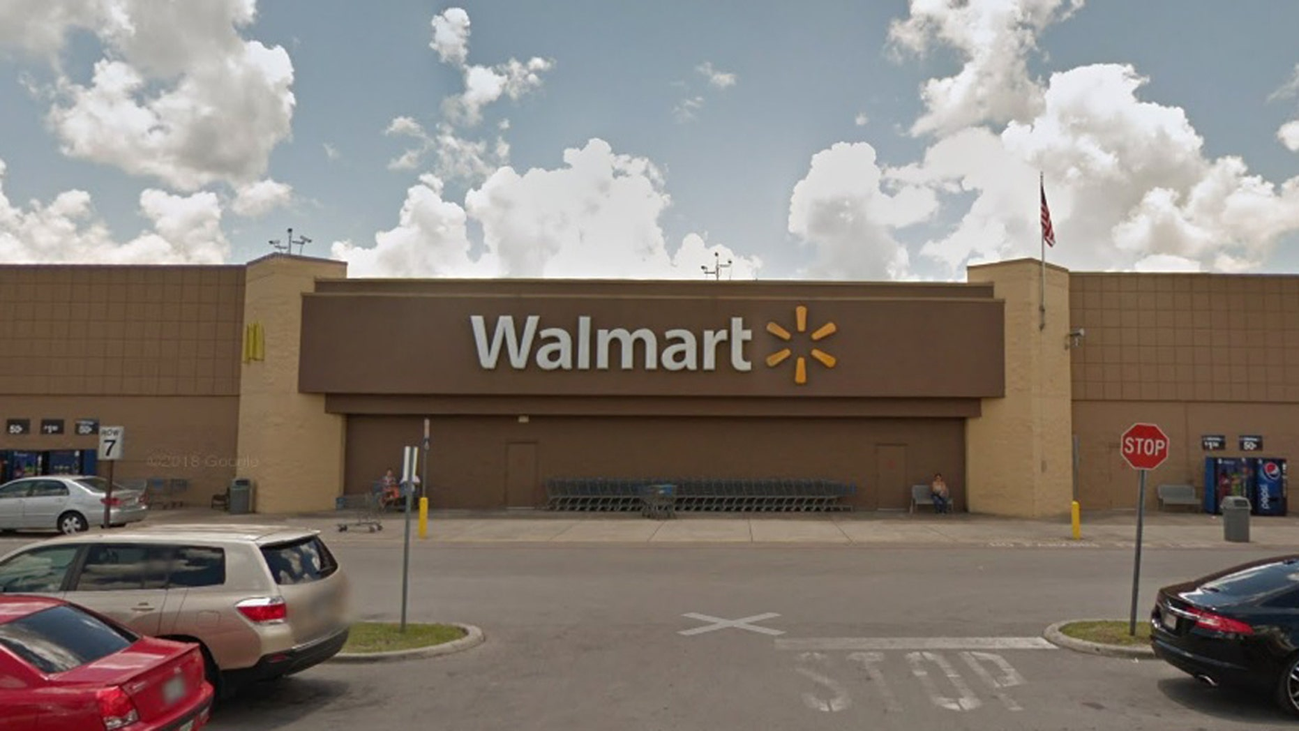 """Pictured above is the Walmart in Ocala, Florida, where police say a male shot a woman, killing her, during a """"domestic argument"""" on Saturday."""