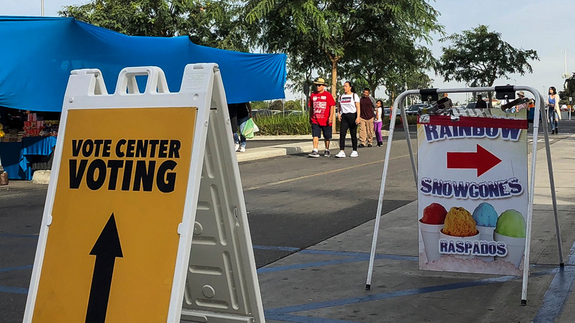 An Orange County registrar pop-up voting location is seen at the Golden West College in Huntington Beach, Calif., Sunday, Nov. 4, 2018. (AP Photo/Amy Taxin)