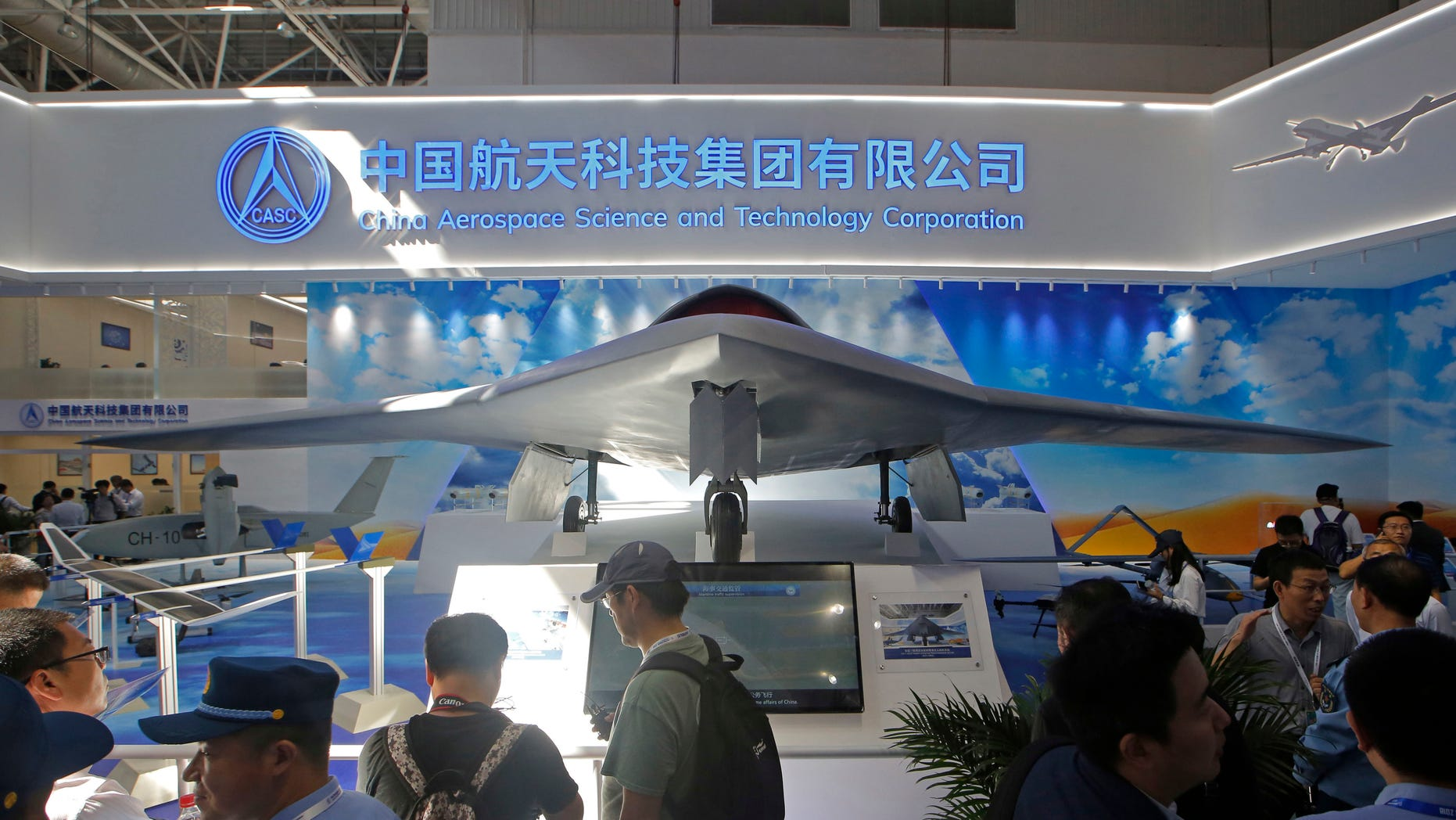 China's new-generation stealth unmanned combat aircraft prototype, the CH-7, is displayed during the 12th China International Aviation and Aerospace Exhibition. (AP Photo/Kin Cheung, File)