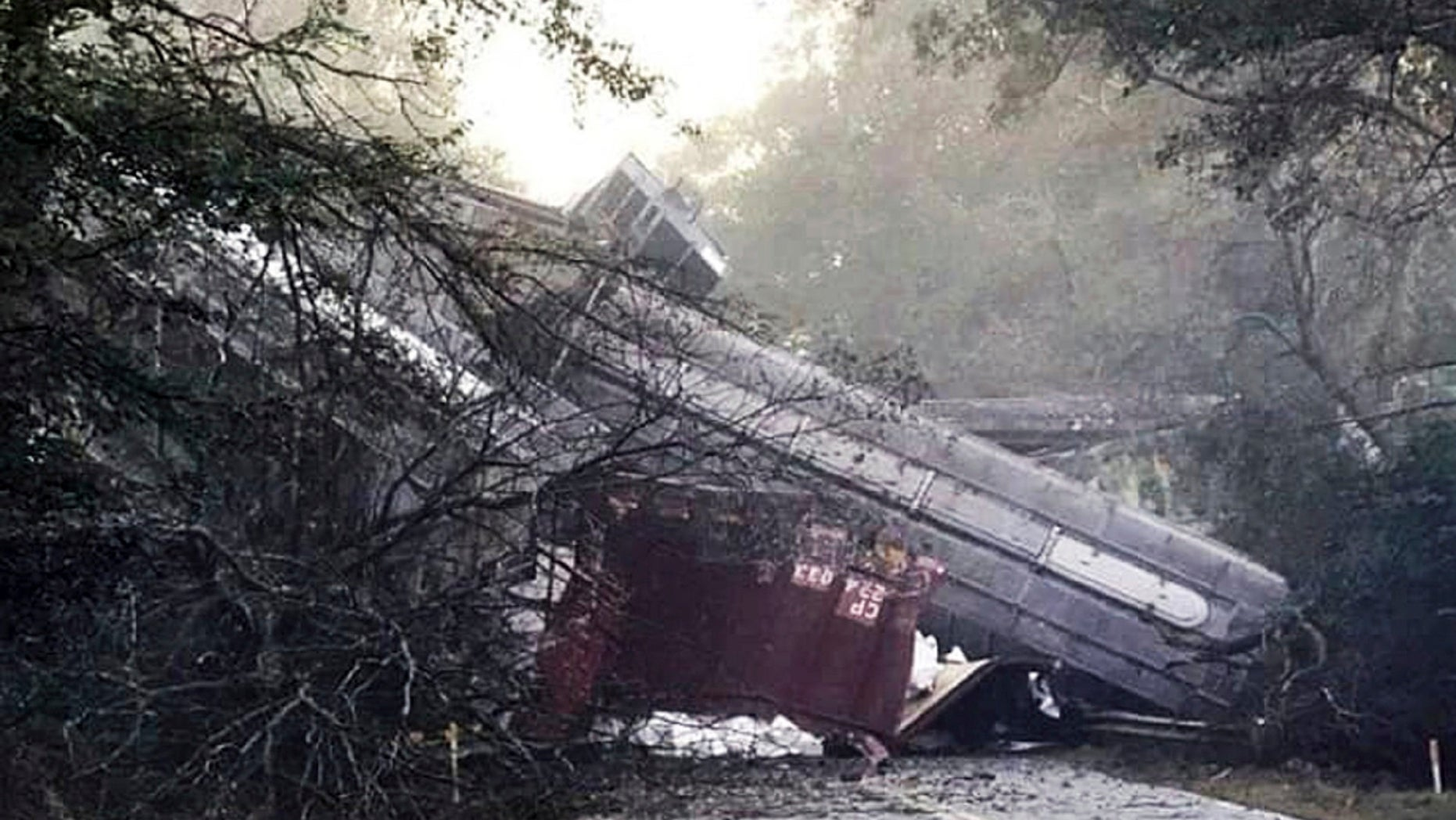 More than two dozen rail cars derailed in Georgia Saturday morning, prompting a temporary evacuation of the surrounding area, CSX Railroad said.