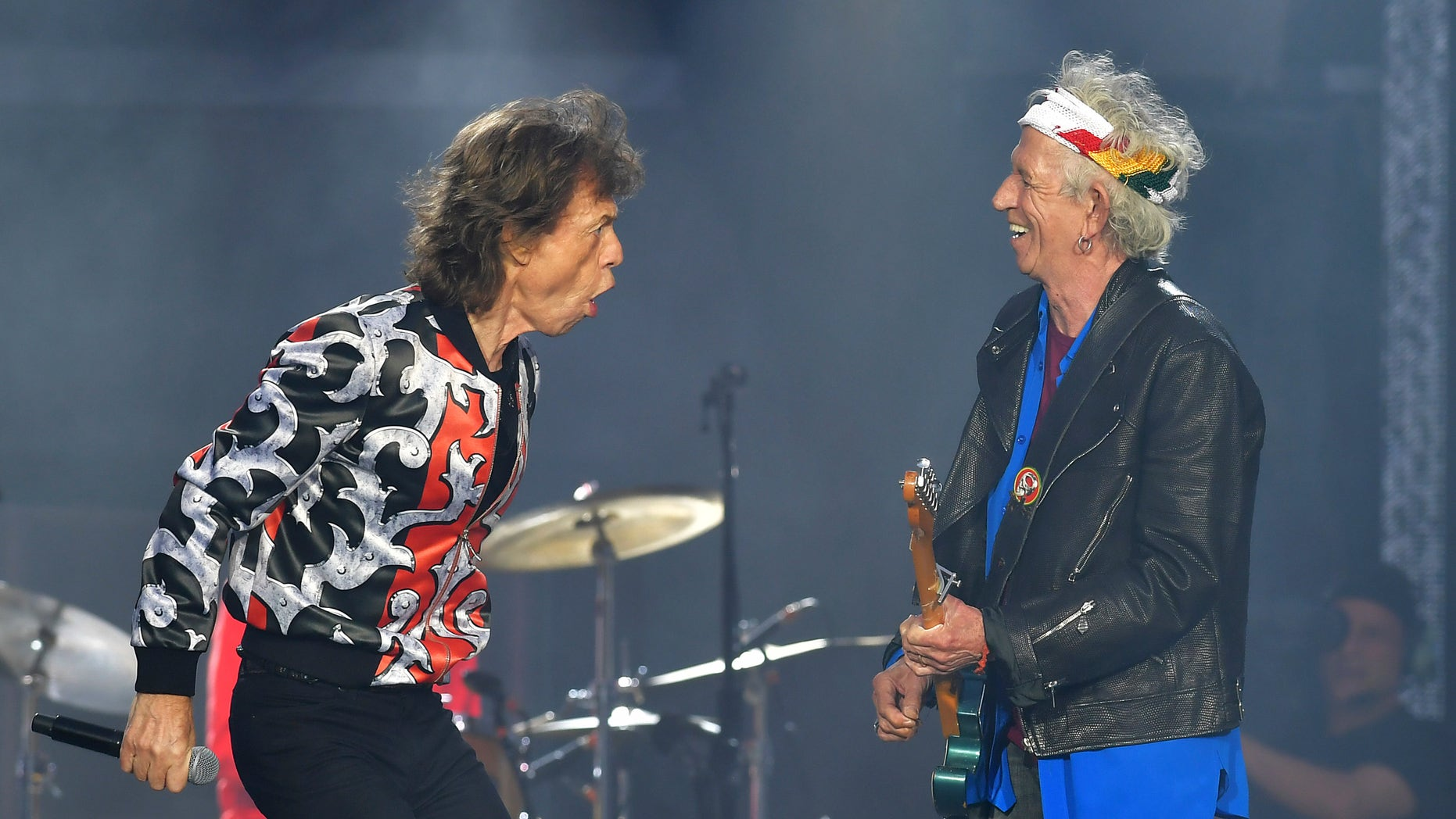ARCHIVE: in this archive photo of May 25, 2018, Mick Jagger, left, and Keith Richards, of The Rolling Stones, perform during their No Filter tour in London. The Rolling Stones will be rolling across the United States next year. The band says they are adding a stage of 13 shows to their tour in the spring of 2019, which will begin in Miami on April 20.